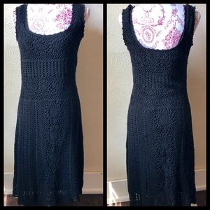 Believe Crocheted Lined Dress 12 Black Cotton